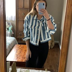 White & Denim striped jacket!